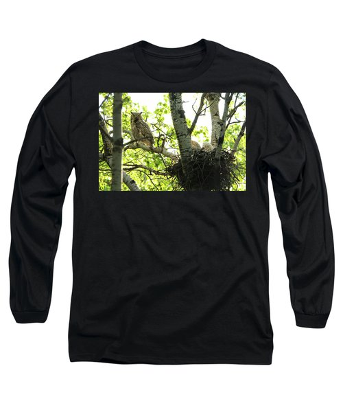 Great Horned Owl And Babies Long Sleeve T-Shirt