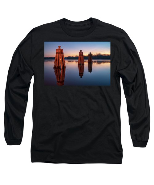 Group Of Three Docking Piles On Connecticut River Long Sleeve T-Shirt