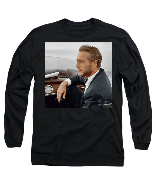 Hand Colored Picture Of Paul Newman Long Sleeve T-Shirt
