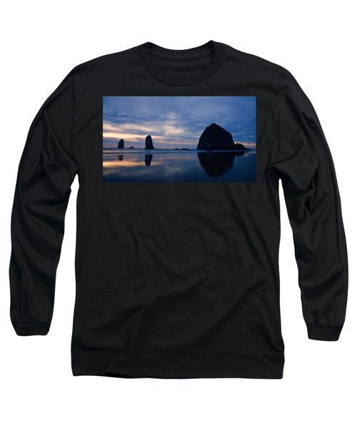 Haystack Rock At Dusk Long Sleeve T-Shirt