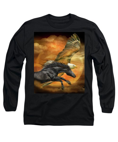 Long Sleeve T-Shirt featuring the mixed media Horse And Eagle - Spirits Of The Wind  by Carol Cavalaris