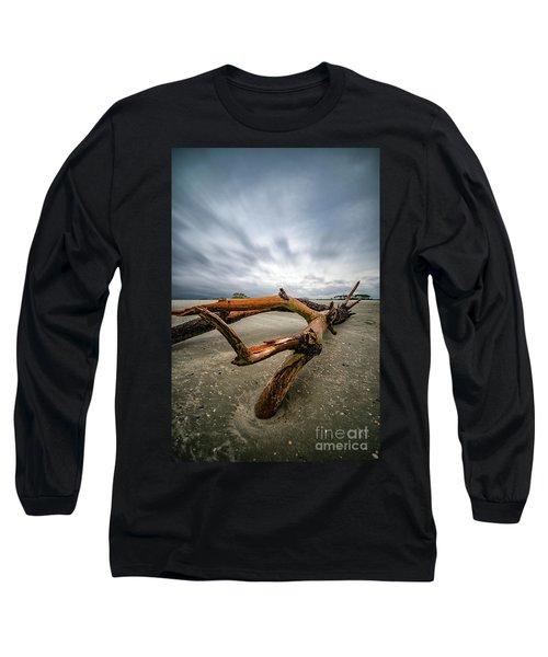 Hurricane Florence Beach Log - Portrait Long Sleeve T-Shirt