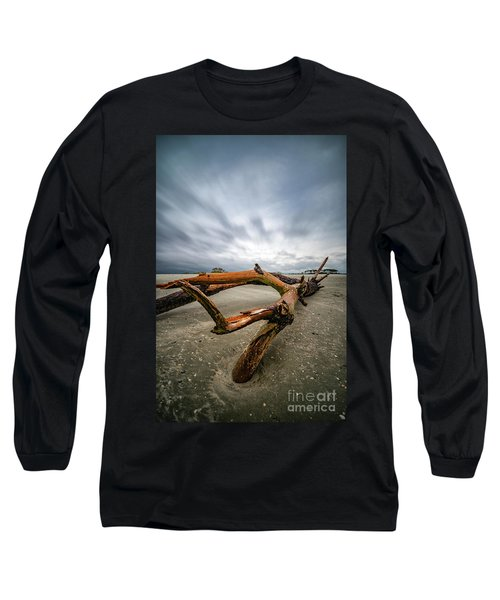 Hurricane Florence Beach Log - Portrait Long Sleeve T-Shirt