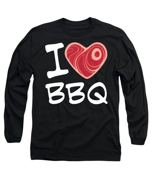 I Love Bbq - White Text Version Long Sleeve T-Shirt