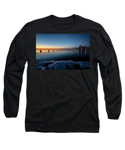 Icy Chicago Skyline At Dawn  Long Sleeve T-Shirt