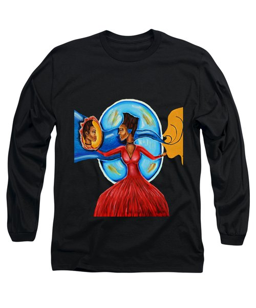 African Goddess Lady In Red Afrocentric Art Mother Earth Black Woman Art Long Sleeve T-Shirt
