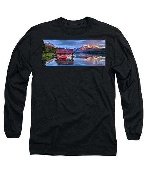 Maligne Lake Sunset Spectacular Long Sleeve T-Shirt