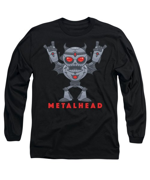Metalhead - Heavy Metal Robot Devil - With Text Long Sleeve T-Shirt