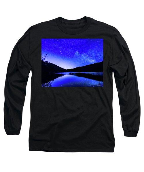 Milky Way Over Springtime Echo Lake Long Sleeve T-Shirt