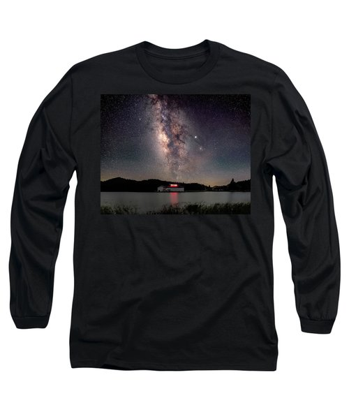 Milky Way Over The Tianping Mountain Lake Temple Long Sleeve T-Shirt