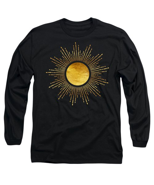 Modern Golden Sunburst Starburst Noir Long Sleeve T-Shirt