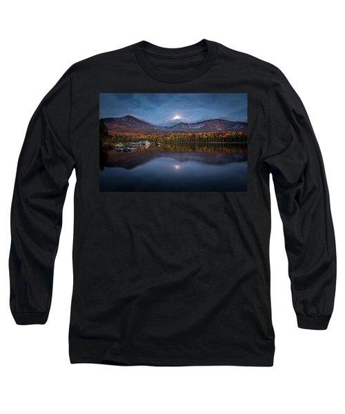 Moon Set At Sandy Stream Pond, Baxter State Park Long Sleeve T-Shirt