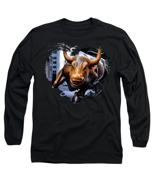 New York City Wall Street Charging Bull Long Sleeve T-Shirt