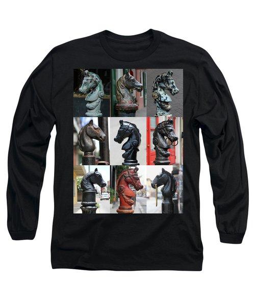 Nine Horse Head Hitching Posts Long Sleeve T-Shirt
