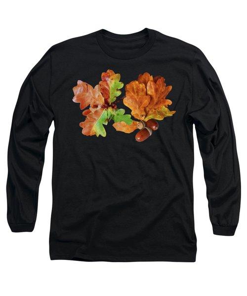 Oak Leaves And Acorns On Black Long Sleeve T-Shirt