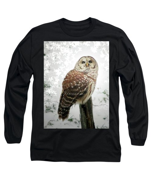 On This Snowy Day The Barred Owl Perches Long Sleeve T-Shirt