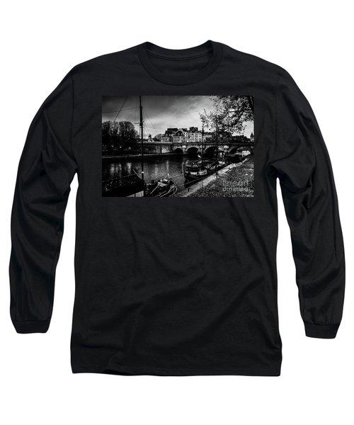 Paris At Night - Seine River Towards Pont Neuf Long Sleeve T-Shirt
