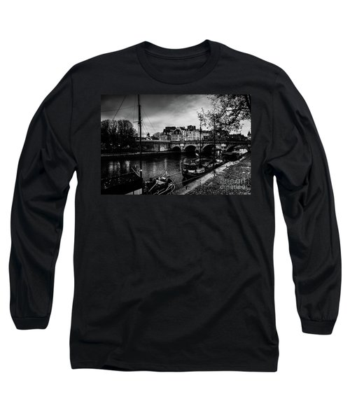 Paris At Night - Seine River Towards Pont Neuf Long Sleeve T-Shirt