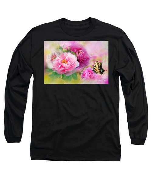 Peonies And Butterfly Long Sleeve T-Shirt