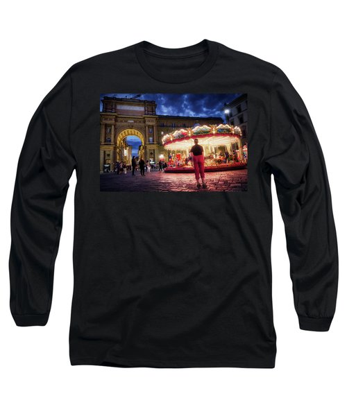 Piazza Della Reppublica At Night In Firenze With Painterly Effects Long Sleeve T-Shirt