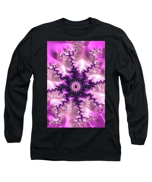 Long Sleeve T-Shirt featuring the digital art Pink And Purple Abstract Fractal by Matthias Hauser