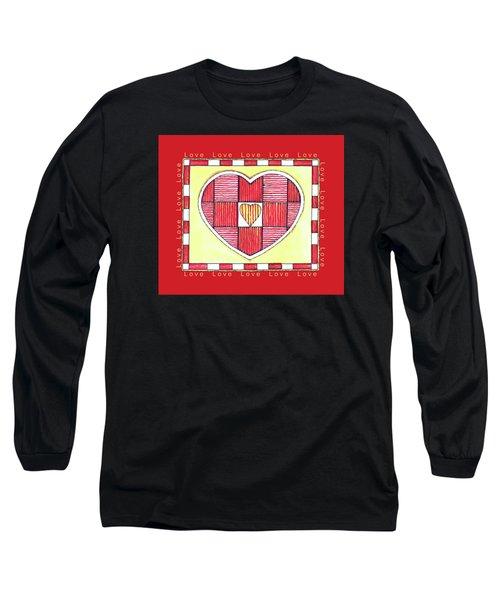 Pinstripe Heart Long Sleeve T-Shirt