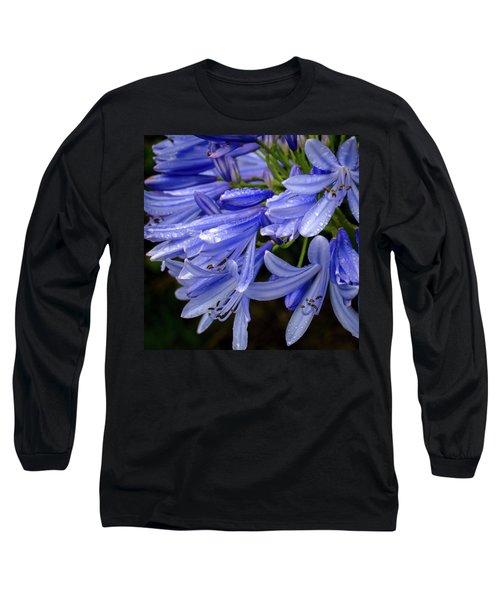 Rain Drops On Blue Flower II Long Sleeve T-Shirt
