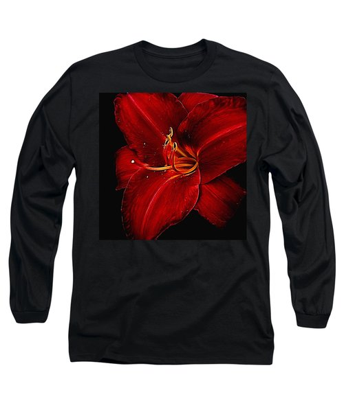 Red Daylily On Black Long Sleeve T-Shirt