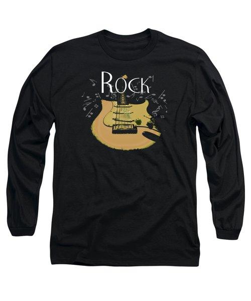 Long Sleeve T-Shirt featuring the digital art Rock Guitar Music Notes by Guitar Wacky