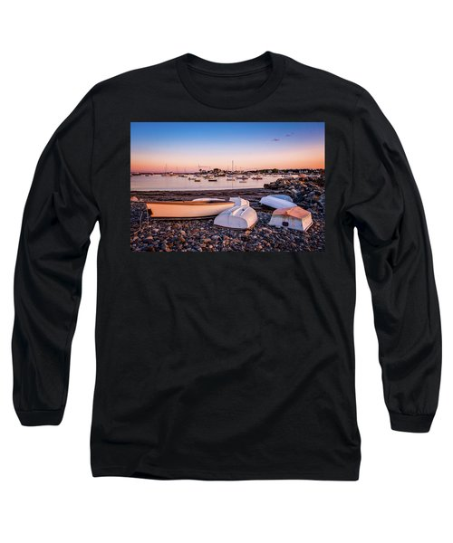 Rowboats At Rye Harbor, Sunset Long Sleeve T-Shirt