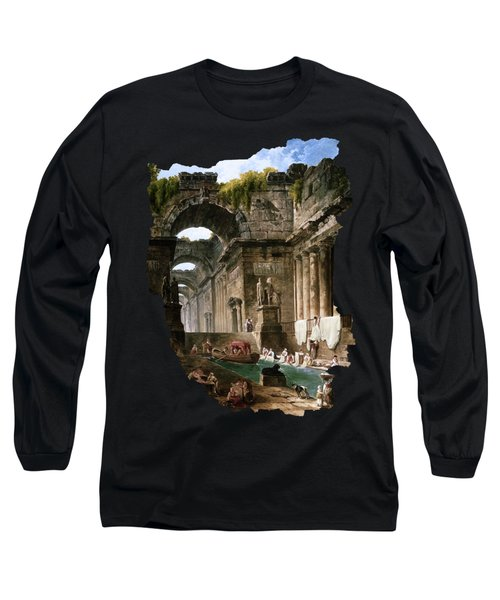 Ruins Of A Roman Bath With Washerwomen By Hubert Robert Long Sleeve T-Shirt