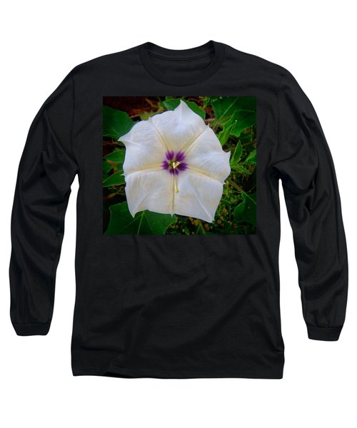 Long Sleeve T-Shirt featuring the photograph Sacred Datura - Full Bloom by Judy Kennedy