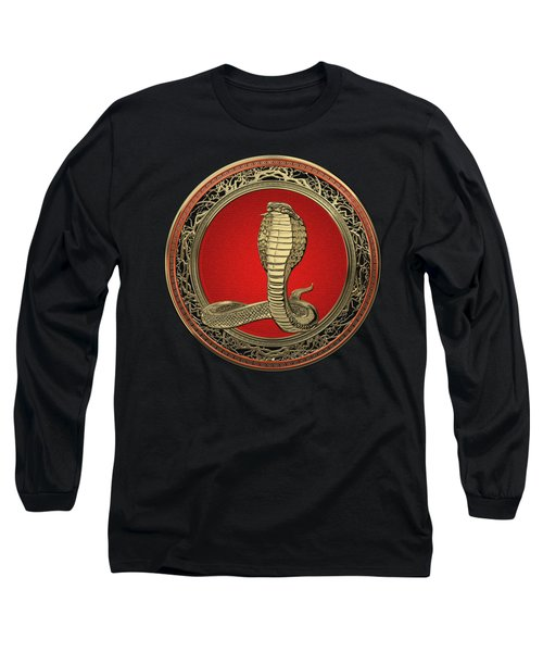 Sacred Gold King Cobra On Black Canvas Long Sleeve T-Shirt