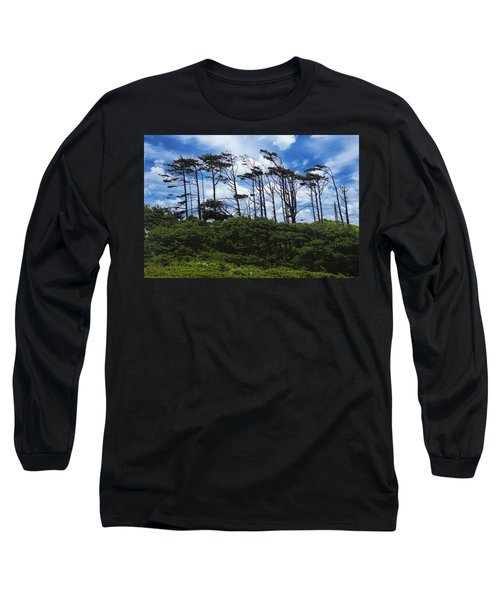 Silhouettes Of Wind Sculpted Krumholz Trees  Long Sleeve T-Shirt