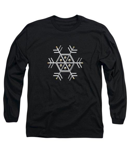Silver And Gold Snowflake 2 At Midnight Long Sleeve T-Shirt