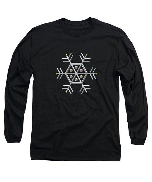 Silver And Gold Snowflake 2 At Midnight Long Sleeve T-Shirt