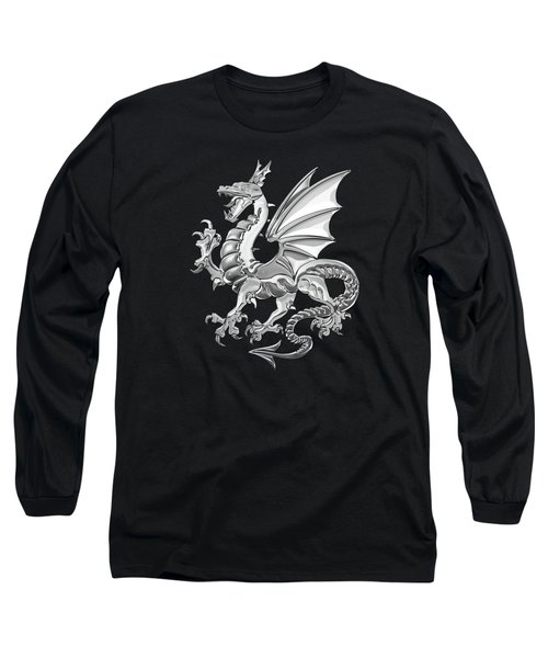 Silver Winged Norse Dragon - Icelandic Viking Landvaettir Over Black Velvet  Long Sleeve T-Shirt