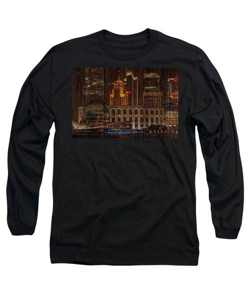 Skyline Of Shanghai, China On Wood Long Sleeve T-Shirt