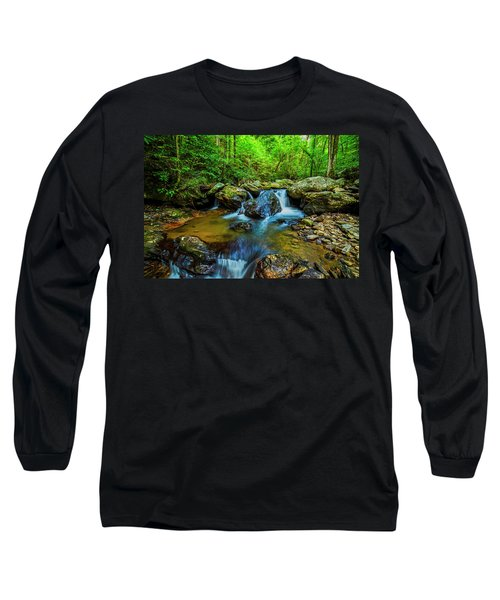 Long Sleeve T-Shirt featuring the photograph Smith Creek Cascade by Andy Crawford