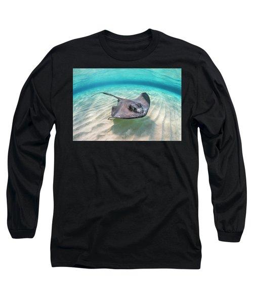 Southern Stingray Female Swimming, Grand Cayman Long Sleeve T-Shirt