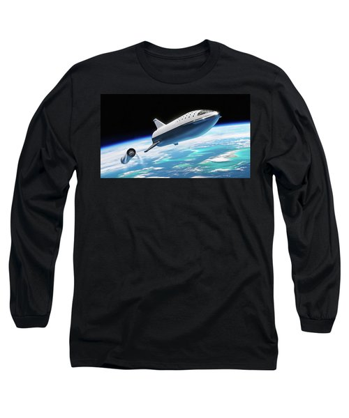 Spacex Bfr Big Falcon Rocket With Earth Long Sleeve T-Shirt
