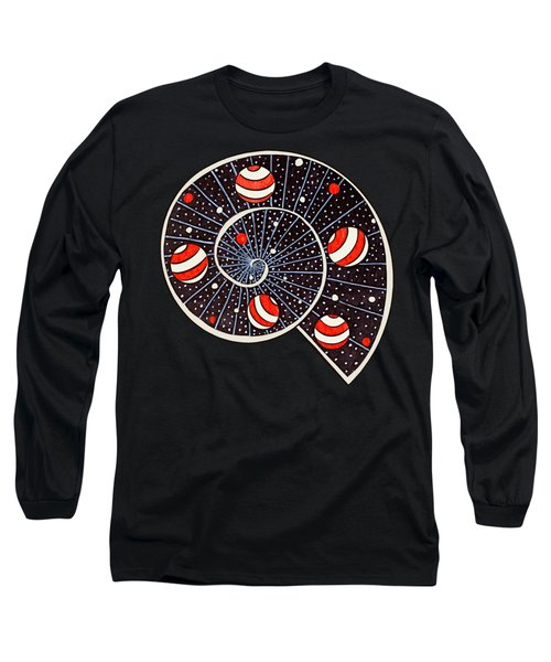 Spiral Galaxy Snail With Beach Ball Planets Long Sleeve T-Shirt