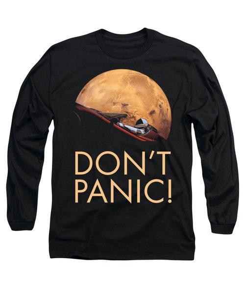 Starman Don't Panic In Orbit Around Mars Long Sleeve T-Shirt