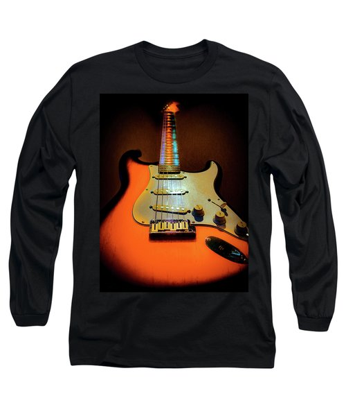 Long Sleeve T-Shirt featuring the digital art Stratocaster Triburst Glow Neck Series by Guitar Wacky