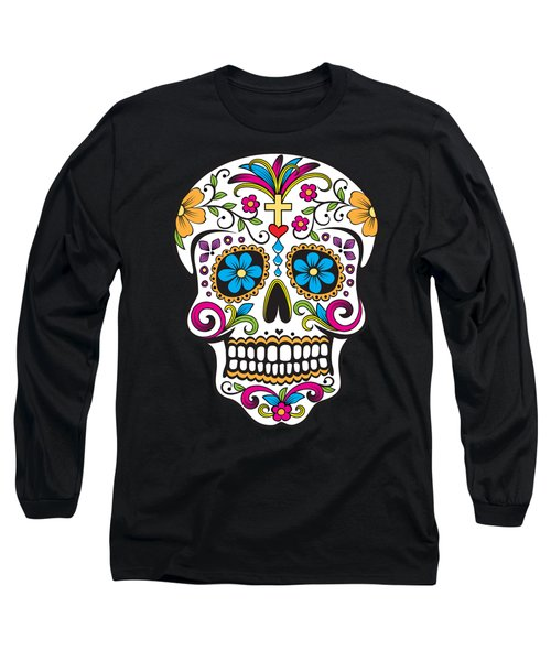 Sugar Skull Day Of The Dead Long Sleeve T-Shirt