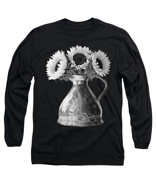 Sunflowers In Copper Pitcher In Mono Long Sleeve T-Shirt