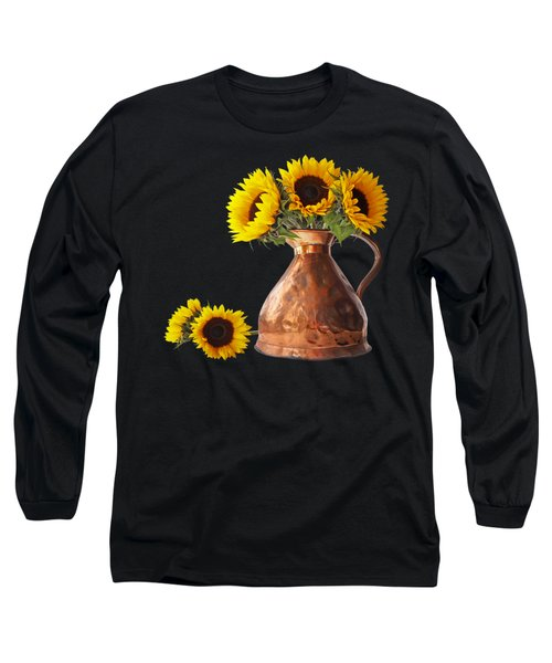 Sunflowers In Copper Pitcher On Black Square Long Sleeve T-Shirt