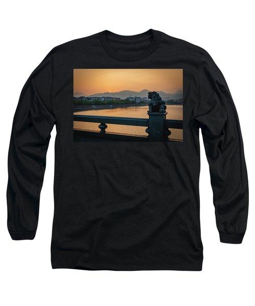 Sunrise In Longquan Seen From Gargoyle Bridge Long Sleeve T-Shirt
