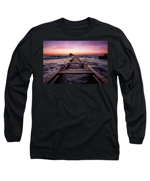 Sunset Shining Over A Wooden Pier In Livorno, Tuscany Long Sleeve T-Shirt