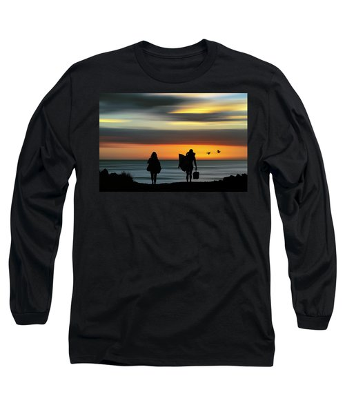 Surfer Girls Silhouette Long Sleeve T-Shirt